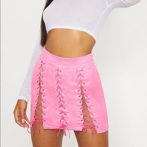 Hot Pink Faux Suede Lace Up Detail Mini Skirt
